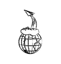 Monochrome blurred silhouette of earth globe and vector