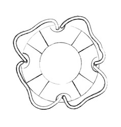 monochrome contour hand drawing of flotation hoop vector image