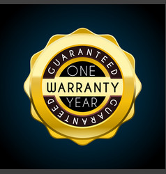 one year warranty golden badge guarantee label vector image