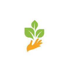 orange hand with green leaves sprout new life vector image