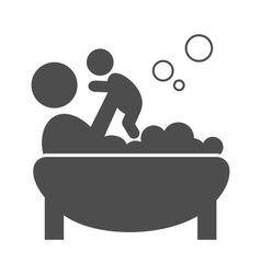 Parent takes a bath with bapictogram flat vector
