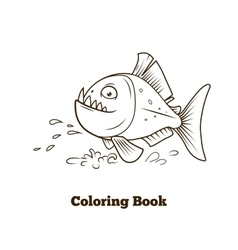 Piranha fish cartoon coloring book vector