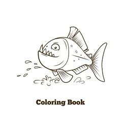 Piranha fish cartoon coloring book vector image