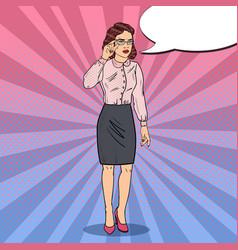 Pop art worried business woman vector