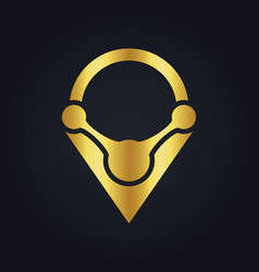 Position technology colored gps gold logo vector