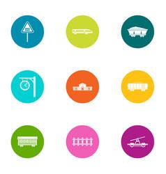 rail icons set flat style vector image