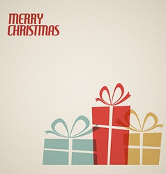 Retro Christmas card with christmas presents vector image