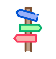road wooden signposts icon outline vector image
