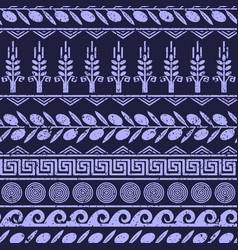 Seamless pattern with olives wheat and symbols vector