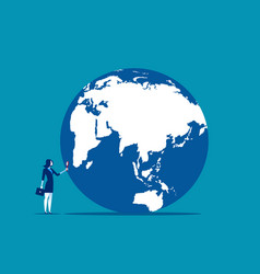 Searching a businesswoman looking globe with vector