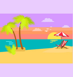 Seashore coastal view tropical beach sea sand palm vector