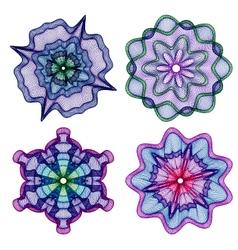 Set color rossete guilloche element vector