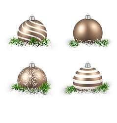 Set of realistic golden christmas balls vector image
