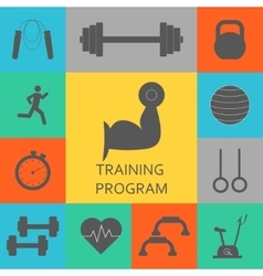 Set of training program icons sport vector