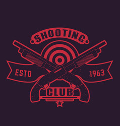 Shooting club logo with guns crossed shotguns vector
