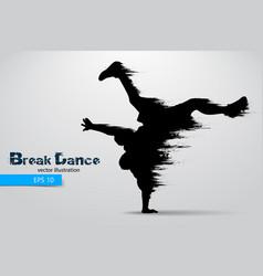 silhouette of a break dancer vector image