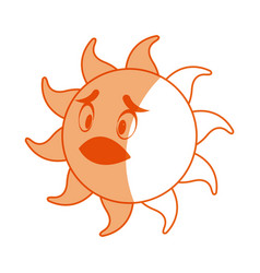 smiling funny cartoon sun with vector image