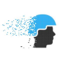 Soldier helmet decomposed pixel icon vector