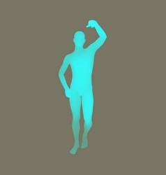 Standing man 3d human body model design element vector