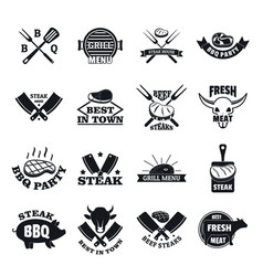 steak logo grilled beef icons set simple style vector image