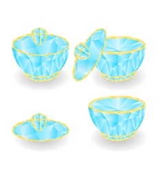 Sugar bowl polygons part of porcelain vector image