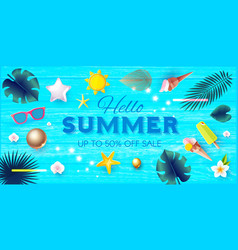 summer sale tropical background with leaves vector image