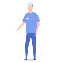 Surgeon wearing medical suit gesture hand medical vector