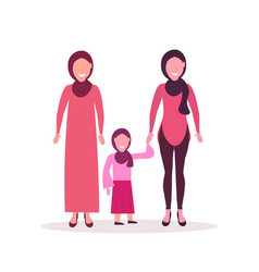 three generations arab women in hijab standing vector image