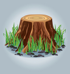 Tree stump with green grass isolated vector