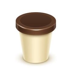 Tub bucket for vanilla chocolate dessert yogurt vector