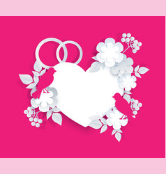 valentine greeting card for wedding heart shape vector image