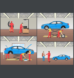 Vehicle repair service color vector