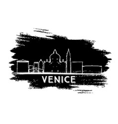 Venice italy skyline silhouette hand drawn sketch vector