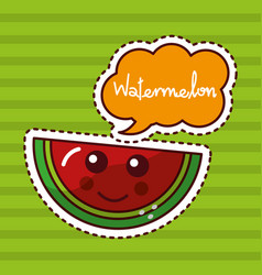 Watermelon fruit kawaii cheerful character patch vector