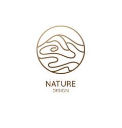 wavy lines structure landscape logo vector image