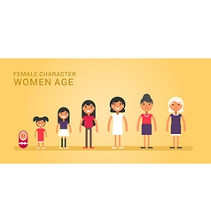 Women age generations life stages women web vector