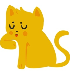 Yellow Cat Licking Paw vector