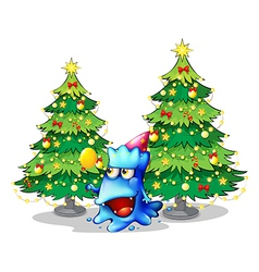 A monster near the green pine christmas trees vector image vector image