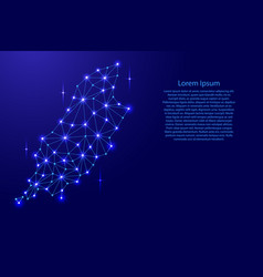 Isle of man map of polygonal mosaic lines network vector