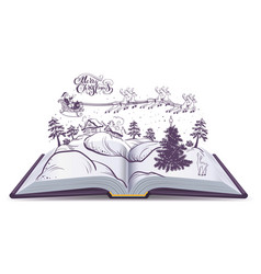 open book tale about christmas santa and deer in vector image vector image