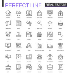 Real estate thin line web icons set outline vector
