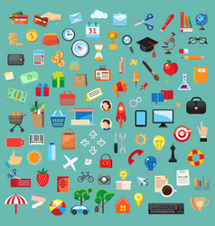 Set of universal icons flat design vector image vector image