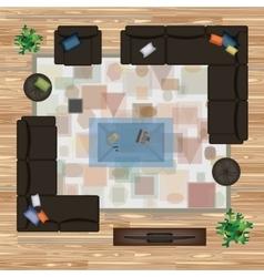 Sofa Armchair Pillows Carpet Coffee Table vector image vector image
