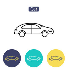 car line icon outline sign vector image vector image