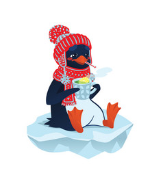 cute sick penguin in funny hat and scarf vector image vector image