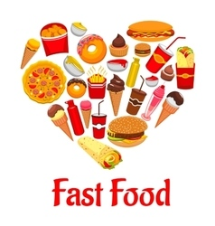 Fast food icons in heart shape emblem vector