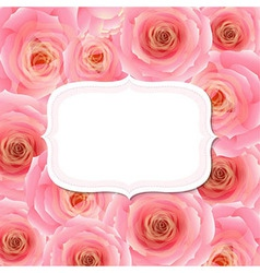 Label With Pink Rose vector image vector image