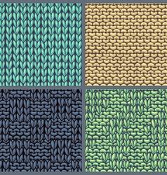 set of various knitting patterns vector image vector image