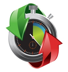 stopwatch with colorful arrows vector image