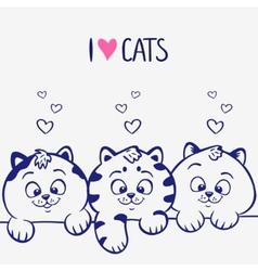 three kittens vector image
